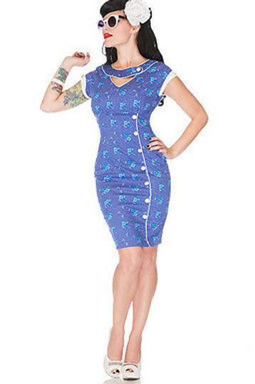 Voodoo Vixen Blue Spotty Floral Wiggle Dress