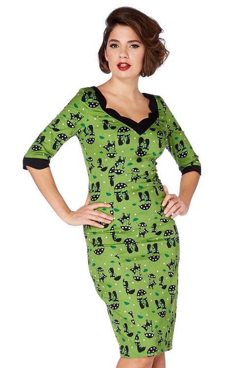 Voodoo Vixen Jade Kat Green Cat Wiggle Dress