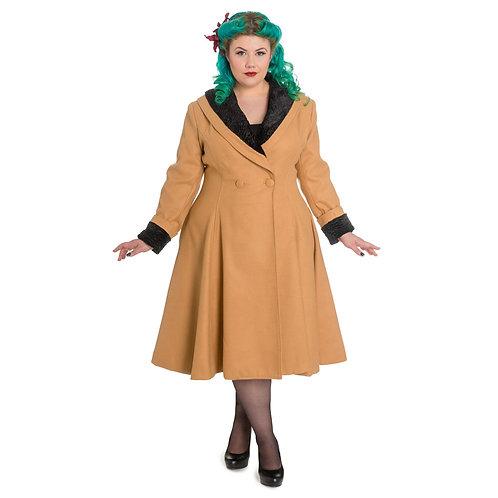 Vivien Beige Vintage Style Coat by Hell Bunny