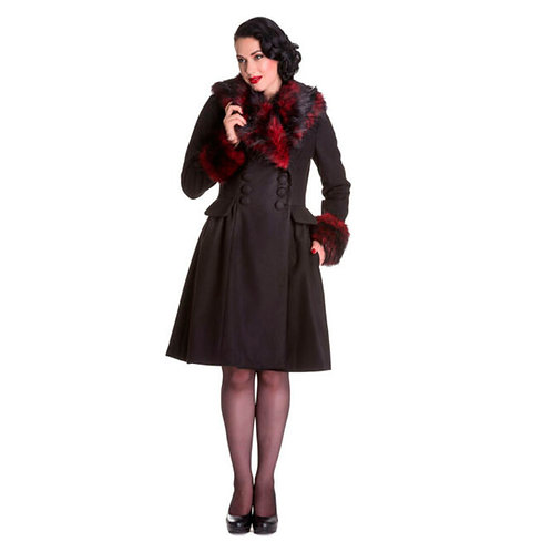 Black Noir Red Faux Fur Trim Coat by Hell Bunny