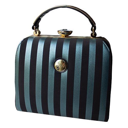 Teal & Black Stripes Peach Bag