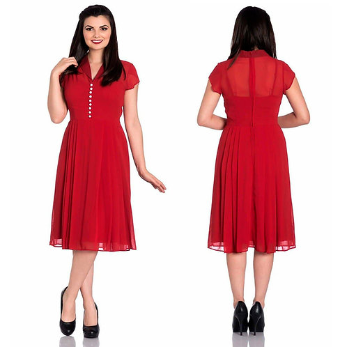 Hell Bunny Red Tea Dress 1940's Style