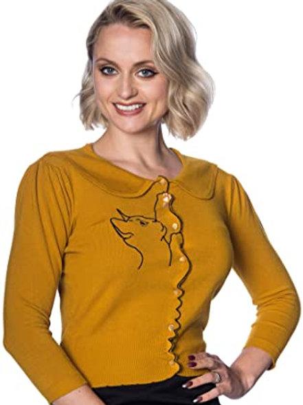 Banned Retro Mustard Cat Cardigan