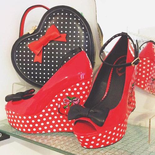 Banned Retro Red Cherry Sophia Wedges