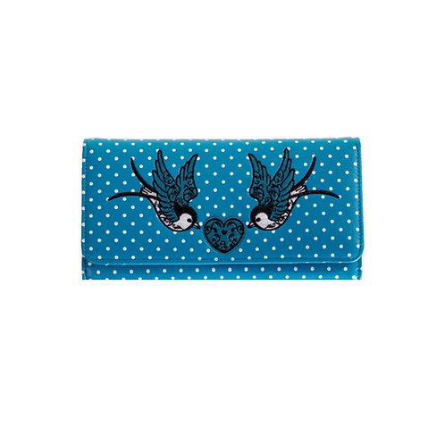 Banned Retro Now Or Never Turquoise Swallow Purse