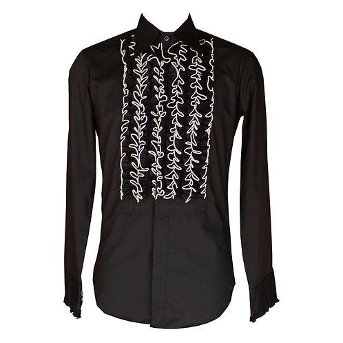 Chenaski 70's Ruffle Shirt Black