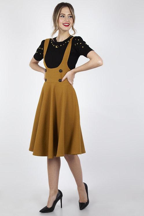 Voodoo Vixen Phoebe High Waisted Overall Skirt in Mustard