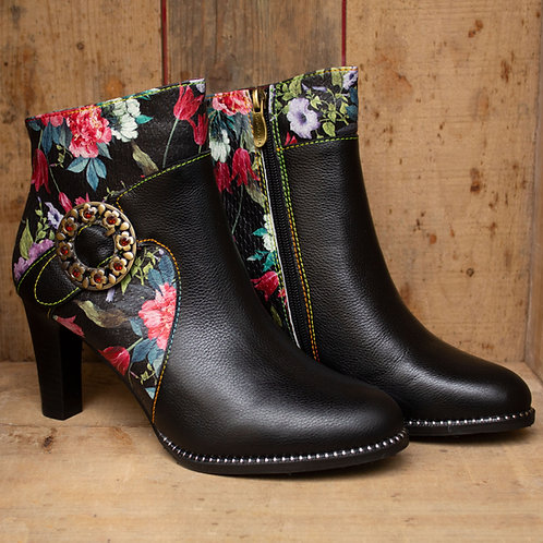 Dawn Floral Black Ankle Boot By Laura Vita