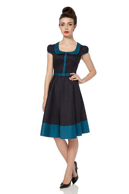 Voodoo Vixen Navy/Teal Belted Dress