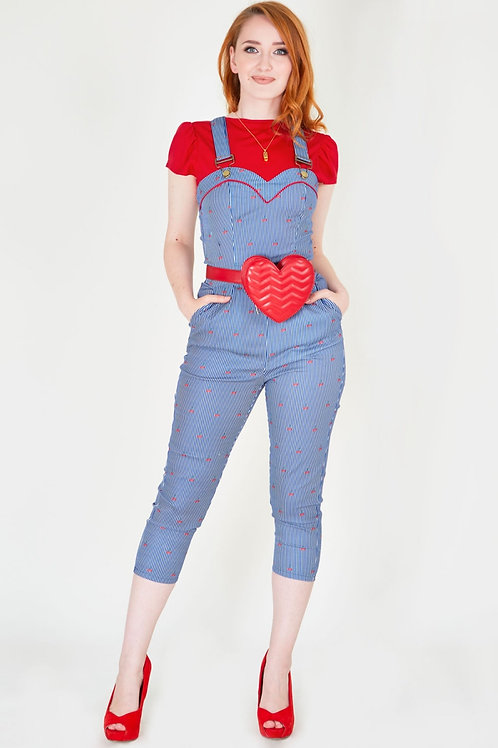 Voodoo Vixen  Bailey Cherry Stripe Jumpsuit