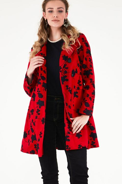 Voodoo Vixen Joan Red Floral Coat
