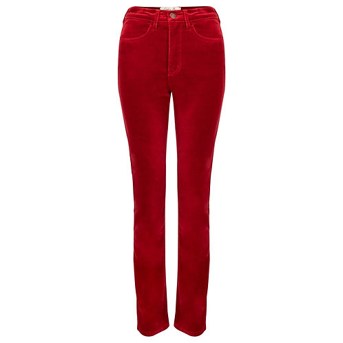 Amazing Woman Velvet Red Trousers