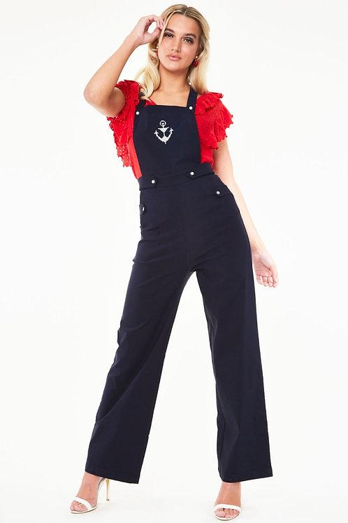 Voodoo Vixen Anchor Embroidered Jumpsuit