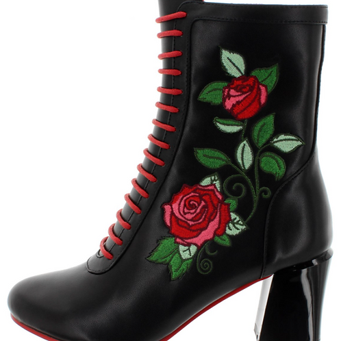 Banned Fantasy Black Rose Boots