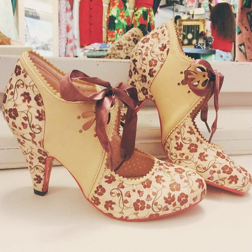 Banned Retro Mary Beth Pink & Nude Floral Lace Up Heels
