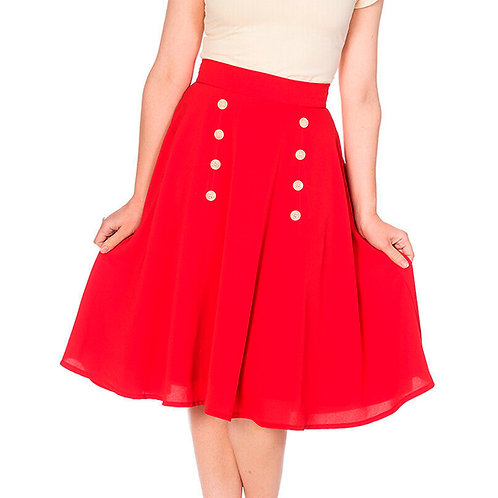 Cute As a Button Flared Red Skirt by Banned Retro