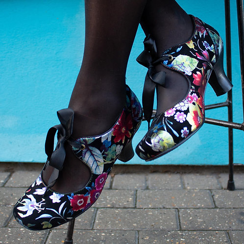 Candy Mary Jane Floral Heels By Laura Vita