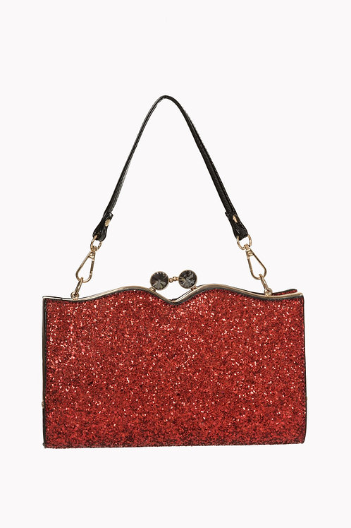Banned Retro Simone Red Glitter Bag
