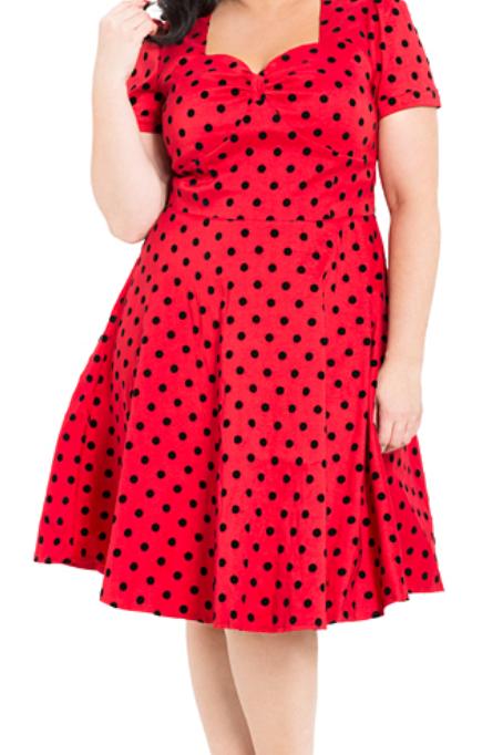Voodoo Vixen Eliza Red Polka Dress