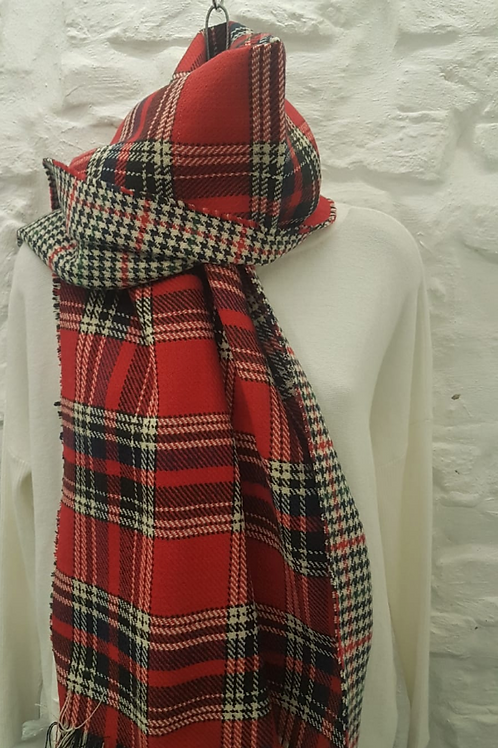 Wool Blend Red Tartan/Houndstooth Reversible Scarf