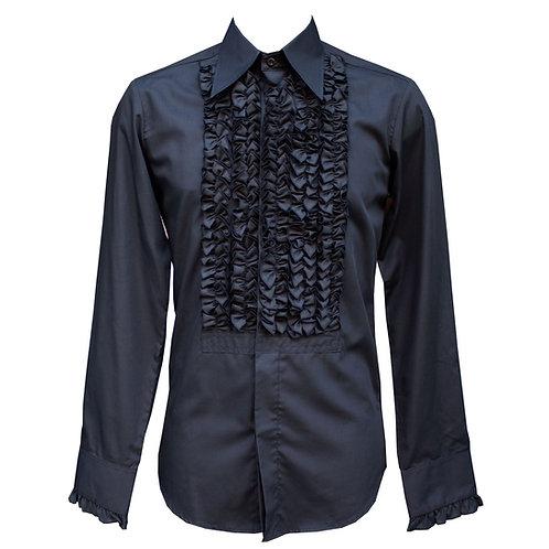 Chenaski Black Ruffle Shirt