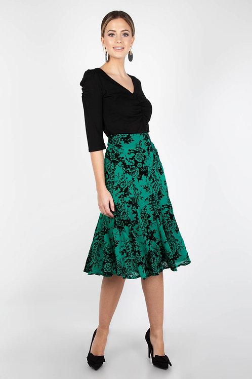 Voodoo Vixen Chloe Black & Green Flocked Rose Skirt