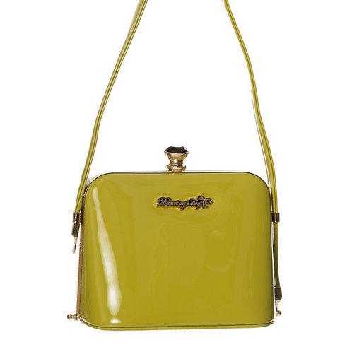 Banned Retro Dark Blooms Olive Handbag
