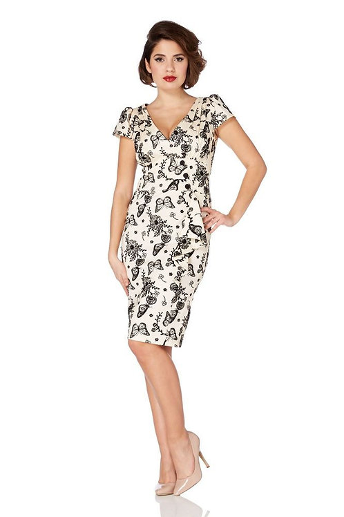 Voodoo Vixen Dita Butterfly Wiggle Dress
