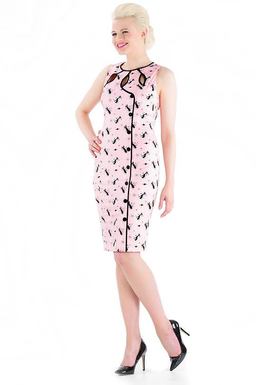 Voodoo Vixen Pink Cat Wiggle Dress
