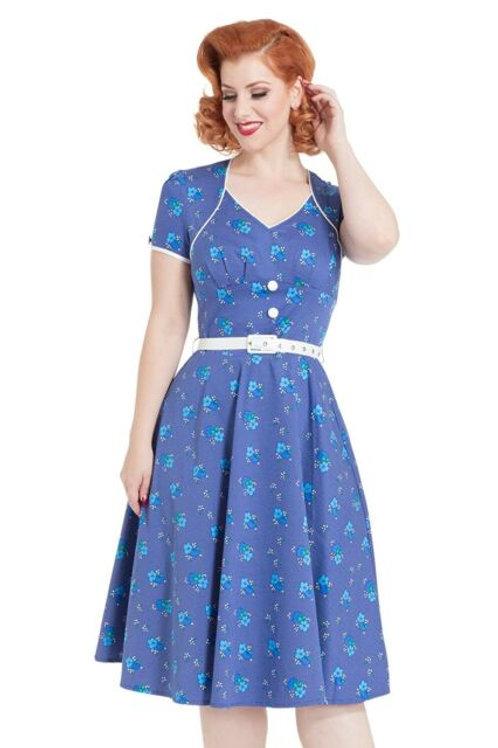 Voodoo Vixen Blue Spotty Floral Dress