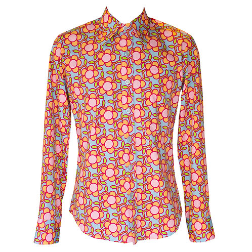 Chenaski Pastel Flower Grid Shirt