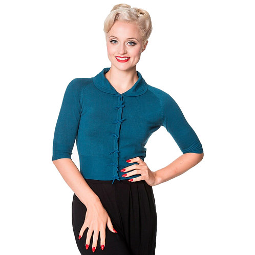 Banned Retro April Bow Teal Cardigan