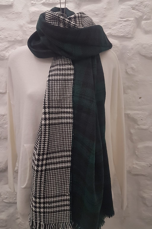 Wool Blend Green Tartan/Plaid Reversible Scarf