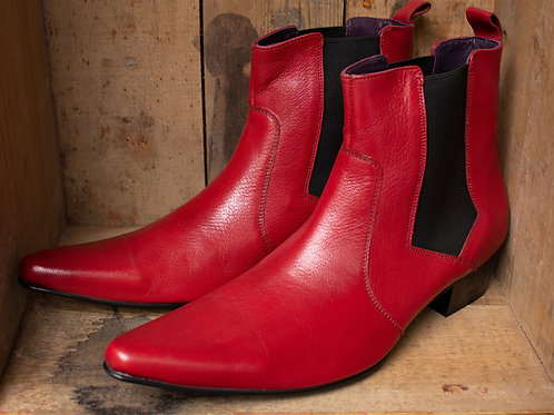 Red Leather Rock 'n' Roll Chelsea Boots