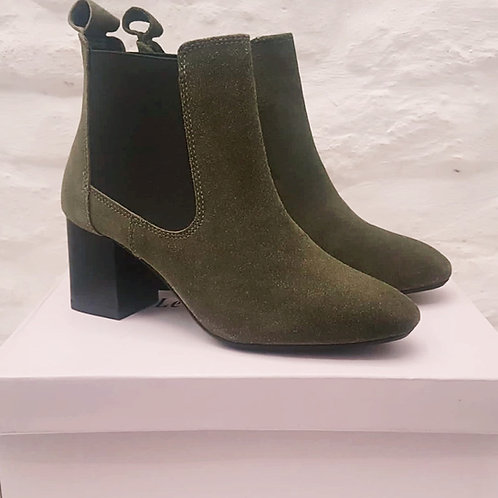 Genuine Suede Leather Khaki Ankle Boots
