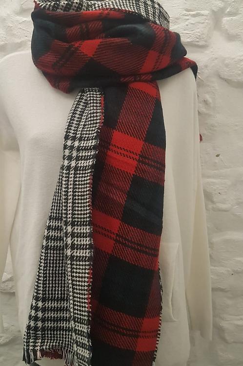 Wool Blend Tartan/Plaid Reversible Scarf