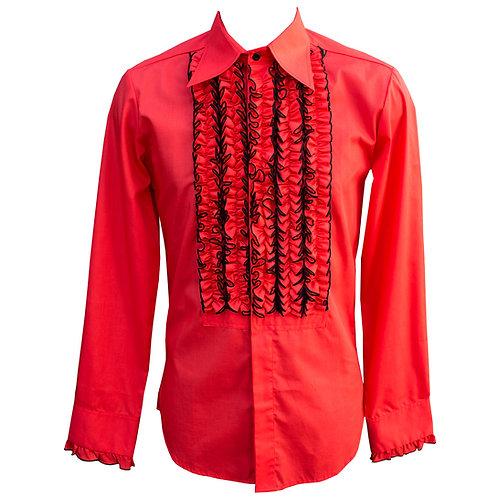 Chenaski 70's Frill Shirt Red