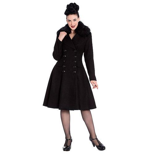 Milan Black Faux Fur Trim Coat by Hell Bunny
