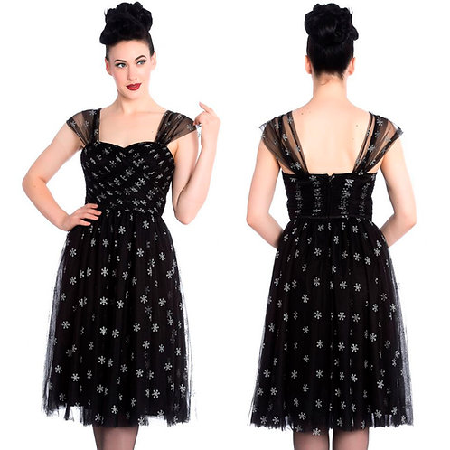 Snow Star Netted Party Dress by Hell Bunny