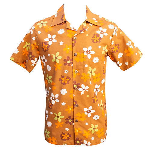 Chenaski Fridge Flowers Brown Short Sleeved Shirt