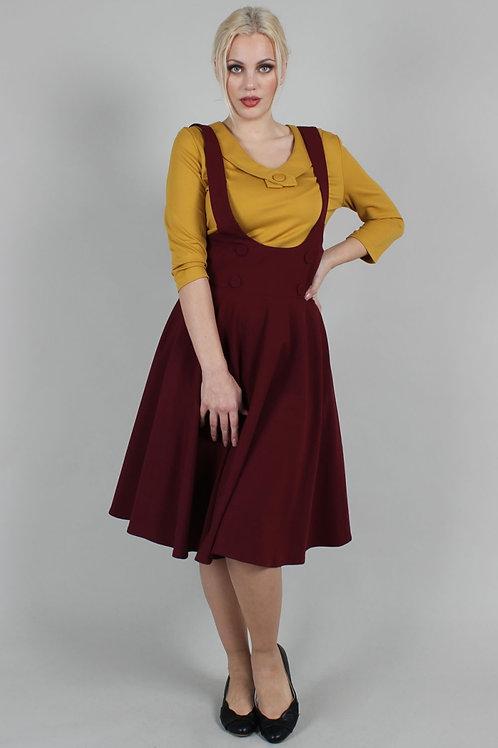 Voodoo Vixen Phoebe Burgundy High-Waisted Overall Skirt
