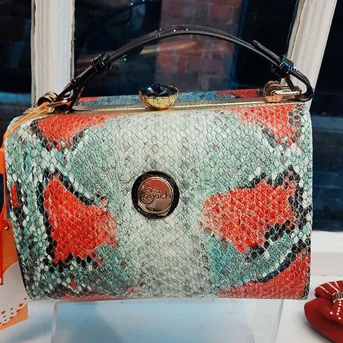 Peach Blue/Grey & Red Snake Print Bag