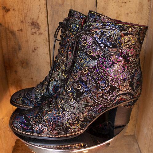 Celia Pearlescent Paisley Laura Vita Heeled Boots