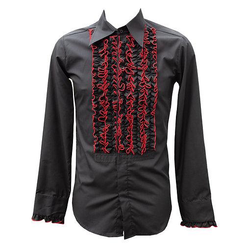 Chenaski 70s Black & Red Frill Shirt