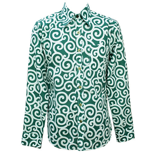 Chenaski 70s Teal Swirls Shirt
