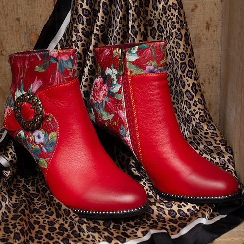 Floral Red Ankle Boot by Laura Vita