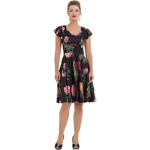 Voodoo Vixen Black Satin Floral Dress