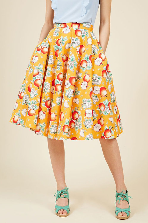 Hell Bunny Somerset Yellow Fruit Skirt
