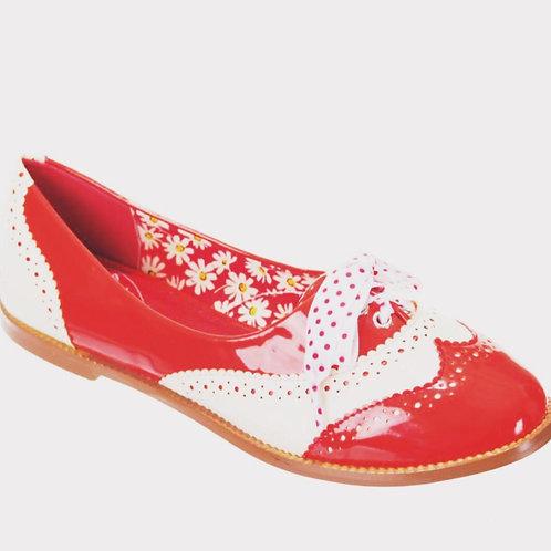 Dancing Days Milana Red Brogue Shoes