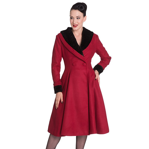 Vivien Red Vintage Style Coat by Hell Bunny
